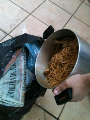 A forgotten pot of pasta on the balcony. Everything thrown away:(