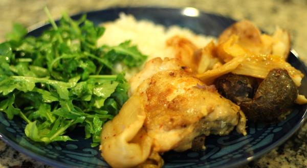 Roasted Chicken & Kimchi Smashed Potatoes