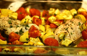 Roasted Chicken with Yellow Squash & Tomatoes