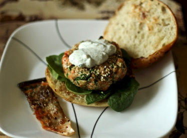 Salmon Burger with Yogurt Sauce