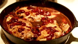 Chicken in Cherry-Wine Pan Sauce