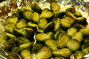 Roasted Brussels Sprouts w/Mushrooms & Cream